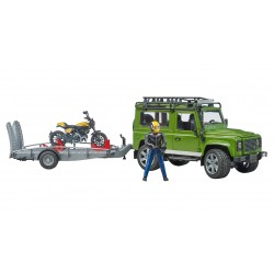Land Rover Defender avec Ducati Scrambler Full Throttle et figurine Bruder 1:16