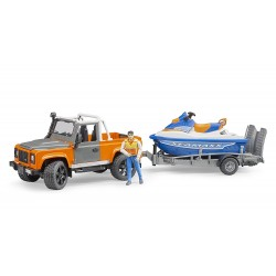 BRUDER 02599 Pick up Land Rover Defender avec jet ski et figurine - jouetoys
