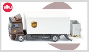 camion man ups avec caisse et hayon élévateur échelle 1:50